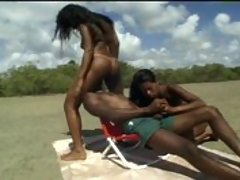 Some yummy black people have a 3some on a deserted beach