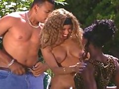 Extreme all black threesome action by the pool