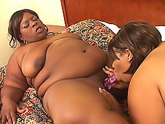 Fat black chicks munch their pussies