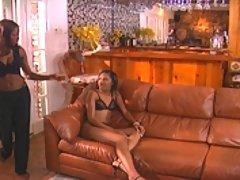 Two sexy ebony sluts share a double ended dildo