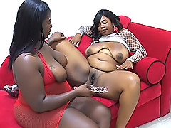 Fat lesbians fuck each other with dildos