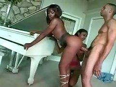 Ebony sweetie satisfies hungry hunk