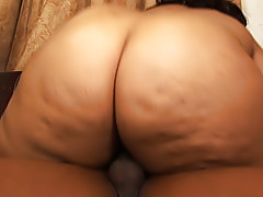 Cum hungry ebony fatty sucks and fucks so she can drink cum