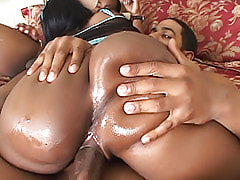 Nasty black bitch Beauty Dior always keeps one cock in her mouth and one in her pussy during this threesome