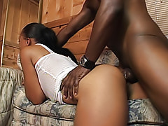 Vanilla couldn't wait to get this black guy hard so he could fill her ebony booty with it