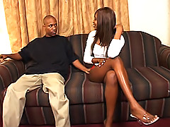 Black chick with long legs sits right down on a big dick