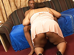 Thick mocha fatty backs that ass up as she's fucked hard